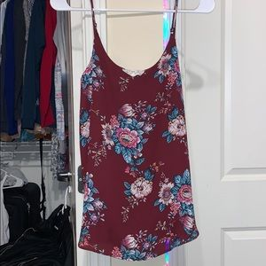 Long Spaghetti strap shirt with flowers on it